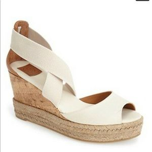 Tory Burch ivory canvas platform wedge sandals